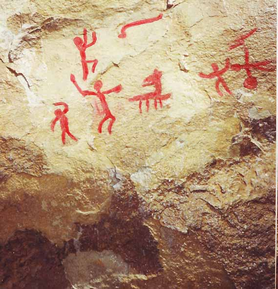 Примерно так выглядят скальные росписи Таш-Аир, если их побрызгать водой